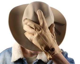 Men Gift 80s Cowboy Gloves 1980s Canadian Beige Farming Ranching Gloves Real Deer Skin Leather Mens Large Size Men 11 Made in Canada Watson