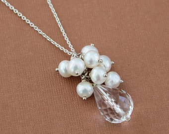 Natural Crystal Quartz and Pearl Cluster Necklace, Clear Drop Pendant