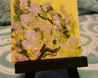 Original Mini Canvas Painting on Easel with free shipping