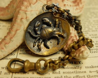 Antique Victorian Watch Fob and Chain Shell and Crab