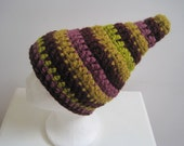 "purple green handmade hat multicolor striped hat gnome hat gift unisex wild hat art hat crocheted hat pointed hat ""quatre"""