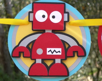 Silly Robot Birthday Banner MADE TO ORDER