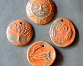 4 Handmade ceramic beads - Autumn Orange beads - Sun, Tree, Hare, and Owl