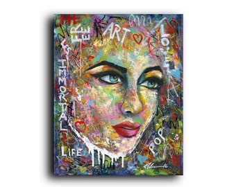 New Original Painting Graffiti Street Art Pop Art Figurative Portrait Faces Woman Contemporary Modern Abstract Colorful
