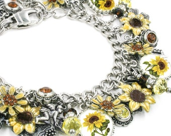 Sunflower Jewelry, Sunflower Bracelet, Charm Bracelet, Sunflower Yellow, Sunny Bracelet, Sunflower Seed Charm in stainless steel