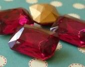 Christmas in July Sale - Glass Rhinestone Jewels - 18x13mm Fuchsia Octagon (A16-2)