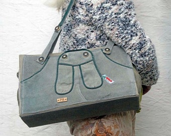 Unique Reclaimed Gray Leather Bag. Leather Shoulder Bag. Leather Handbag. Leather Purse. Women's Bag. Vintage German leather Lederhosen