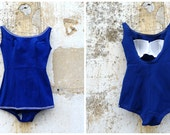 Vintage 1950/1960 French navy blue swim suit / swimwear pin up size S