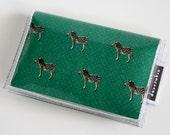 Handmade Vinyl Card Holder - Joy / card case, vinyl wallet, snap, women's, small wallet, zebras, green, cursive, letters, writing, animal