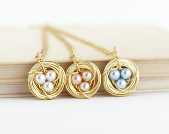 Gift For Women - Gift For Mom - Bird Nest Necklace - Pearl Eggs - Gift for New Mom - Grandmother Gift - Gift For Woman - Gift For Her