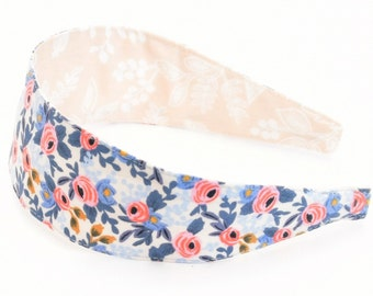 Special Edition REVERSIBLE Rifle Paper Co Les Fleurs Rosa in Periwinkle Comfort Fit Fabric Headband