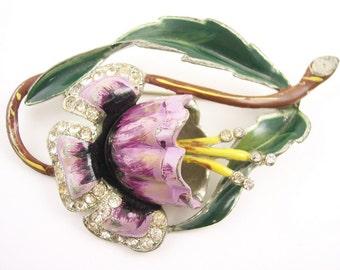 Vintage Art Nouveau Flower Brooch