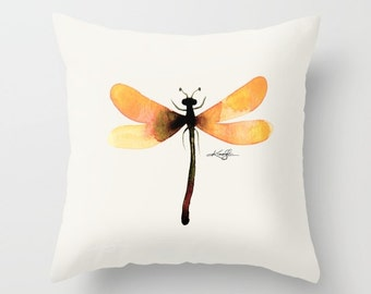 Dragonfly Pillow, Golden Dragonfly Painting, Watercolor Art, Original abstract art painting by Kathy Morton Stanion  EBSQ