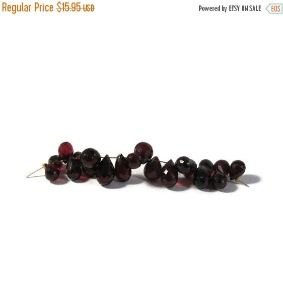 Labor Day SALE - Imperfect Lot - Natural Garnet Beads, 21 Faceted Briolettes, 8x5mm - 10x6.5mm, Gemstones for Making Jewelry (B-Mix2a)