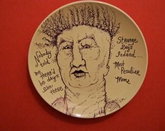 hand painted plate , sandy mastroni , john lennon lyrics ,original art on plate, stipple,unique wall art, black white illustration