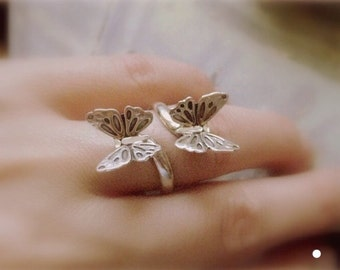 Trendy butterfies Ring- silver Buterfly wrap ring-gypsy ring-Floating Bloom Ring-Adjustable Ring-Poppi-flower Ring- gift for her under 25