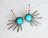 Turquoise Urchin Earrings - Handmade Mixed Metal Sculptural Earring Dangles one of a kind