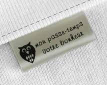 40mm Wash care satin sew on clothing labels for CPSIA requirement white satin labels 300 pcs