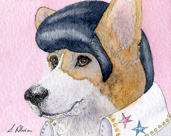 Pembroke Welsh Corgi dog 10x8 inches art print by Susan Alison Elvis Presley impersonator costume wig Are you lonesome tonight watercolour