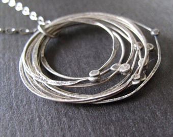 organic hammered circles necklace by modern bird - minimalist design