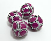 Set of SIX Handmade Polymer Clay Round Shaped Beads in Fuchsia Pink