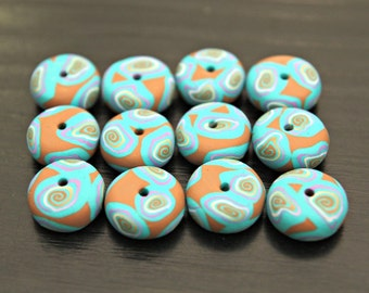 Set Of Handmade Artisan Polymer Clay Beads in Light Brown Turquoise and Lavender