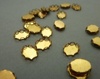 24 Oval Settings - Brass 8 x 6 mm Filigree