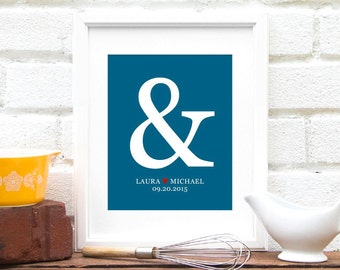 Ampersand Art Print for New Couple : Personalized Anniversary Gift, Personalized Bridal Shower, Engagement Gift - Art Print