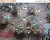 20% off sale Crystal AB Square 6x6mm Silver Plated Brass Connectors Two Loops 6 Pcs