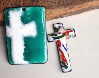 Enamel Cross Pendants, Enamel on Copper, White Cross on Turquoise Enamel, Multi Colored Enamel, Etsy, Etsy Jewelry, Green, Orange, Red