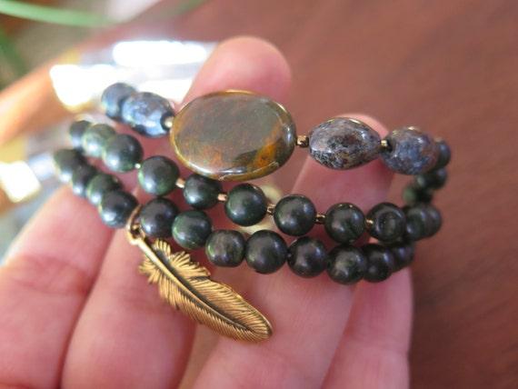 Beaded Multi Strand Stone Crystal Bracelet -Dark Green Earthy - Feather Charm - Triple - Gemstone Funky Boho Jewelry Brass Gold Jewelry