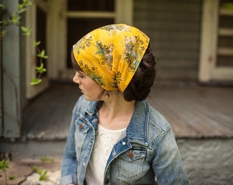 Prailine and Honey Garlands of Grace Print headcovering scarf headband headwrap