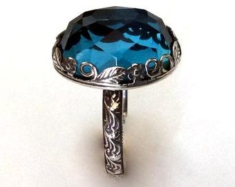 Gemstone ring, Silver ring, statement ring, blue topaz ring, cocktail ring, floral crown ring, birthstone ring, topaz ring - Seduction R2149