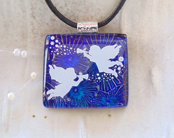 Holiday Necklace, Dichroic Glass Pendant, Glass Jewelry, Angels, Necklace Included, A1