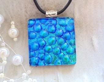 Large, Blue Necklace, Dichroic Pendant, Fused Glass Jewelry, Necklace Included, A8