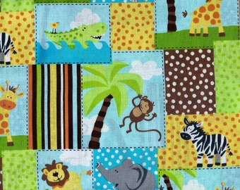 Jungle Patches Baby Fabric, 27X44 Inch Piece, Last Chance.