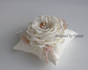 Ivory  Wedding pillow with cream flower and embroiderings ---ring bearer pillow, wedding rings pillow , wedding pillow