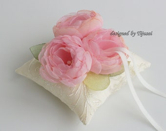 Ivory  Wedding pillow with 3 pink flowers ---ring bearer pillow, wedding rings pillow , wedding pillow, ready to ship