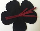 Black felt flower fascinator-  pin/hair clip-Big felt flower brooch-handmade floral hair clip by Anne DePasquale in NYC- Black Flower