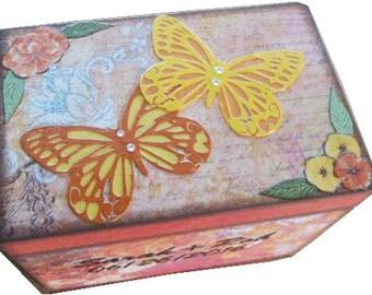 Recipe Box, Wood Recipe Box, Decoupaged Recipe Box, Butterfly Box, Wedding Recipe Box, Bridal Shower Box, Holds 5x7 Cards, MADE TO ORDER