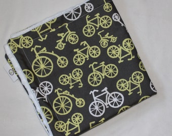 Yellow Blue Bicycles Minky Security Blanket Lovey