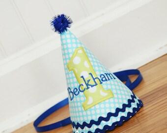 Boy birthday hat - aqua, green, blue - Party hat - 1st Birthday - Free personalization