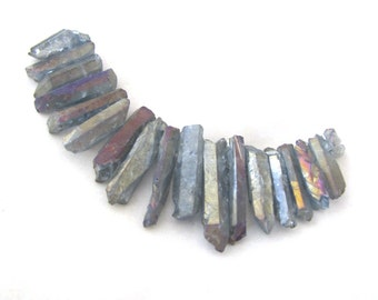 Blue Grey AB Metallic Coated Quartz Crystal Point Matte and Shiny Beads Spiky Shards Set set of 18