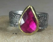 Tourmaline Statement Ring, Solitaire Ring,  22 kt yellow  gold , silver  and Stone ring, gemstone slice ring