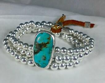 Turquoise and Sterling Bangle Bracelets, stacking bangles, American Turquoise and Silver Cuff bracelet set