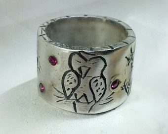 Carved silver Owl Ring,  sterling and ruby owl Band,  rustic  band , primitive style ring, Chunky silver Gemstone ring