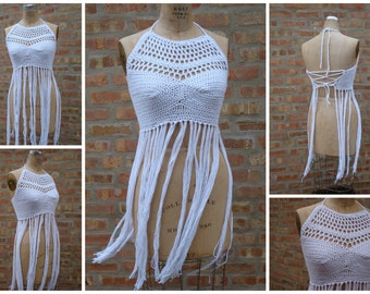 Festival Halter top, festival clothing, gypsy clothing, Hippie top , Boho,Fringed top, Tank top,Custom Colors