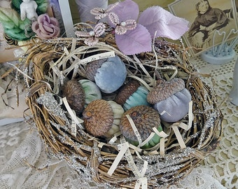 glittered nest of handmade silk velvet acorns - NO392