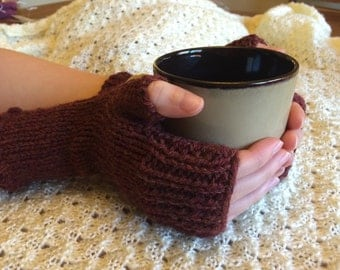 Handknitted Fingerless Gloves Wristwarmers Handwarmers - Rich Brown -  Size Small  (womens)