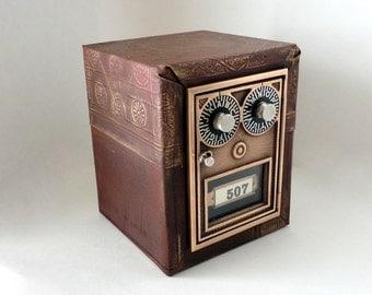Embossed Leather &  Wood Safe w/ Vintage Bronze Post Office Door 507 MailBox Vault Bank Combination Postal Lockbox groomsman 8th Anniversary